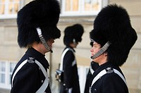 Denmark, Zealand, Copenhagen, Amalienborg palace, changing of the guard