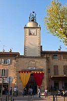 France, Bouches du Rhone, Peyrolles en Provence, the village entrance during the medieval festival of King Rene
