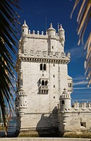 Belém Tower through palm leaves, Lisbon, Portugal, Europe