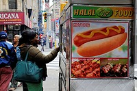 United States, New York, Manhattan, Midtown, Hot Dog vendor