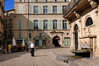 France, Herault, Pezenas, fountain of the Hotel des Consuls Place Gambetta now home for arts and crafts on the right and Hotel Flottes de Sebasan at t...