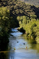 France, Herault, Orb Valley at Ceps, kayaking on the Orb River