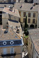 France, Gard, Pays d´Uzege, Uzes, the roofs of the old city and the Gaston Chauvet street
