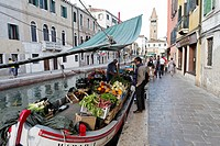 Italy, Venetia, Venice, listed as World Heritage by UNESCO, Dorsoduro district, greengrocer on a boat