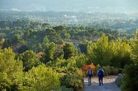 France, Bouches du Rhone, Marseille, 11th arrondissement, Massif du Garlaban, hiking departing from La Treille, Plaine de l´Huveaune in the background...