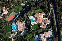 France, Var, St Tropez, Cap St Pierre and Rabiou edge of the park of St Tropez, villas of wealthy individuals aerial view