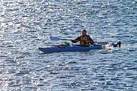 Canada, Quebec Province, Manicouagan, Les Bergeronnes, Cap de Bon Desir, whale watching, kayaking