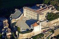 France, Drome, Drome Provencale, Grignan, castle where Madame de Sevigne lived aerial view