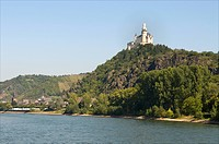 Germany, Rhineland Palatinate, Braubach, castle of Marksburg, the romantic Rhine listed as World Heritage by UNESCO