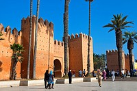 Morocco, Rabat, the Bab al Had with access to the medina