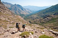 France, Haute Corse, hiking on the GR 20, between Castel di Verghio and Tighjettu refuge