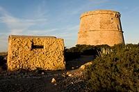 Torre den Rovira, XVII. Punta de Sa Torre. Natural Park Cala Bassa, Cala Compte. Ibiza. Balearic islands. Spain