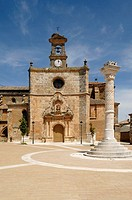 San Miguel church and main square, Mahamud, Burgos, Castile y Leon, Spain
