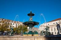 Rossio square Baixa district central Lisbon Portugal Europe