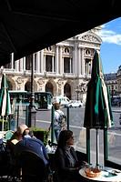 France, Paris, terrace of the Cafe de la Paix on the Place de l´opera