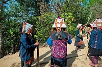 Women dancing, Akha hill tribe, Lhosa village, Chiang Rai Province, Thailand.