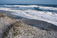 Beach erosion, Cape Hatteras National Seashore, Pea Island, North Carolina.