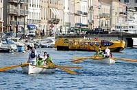France, Herault, Sete, Royal Canal, rowers race at monthly challenges that will launch crews