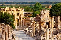 Marble paved Street of Curetes with Library of Celsus beyond in ancient Ephesus, near Selcuk Turkey