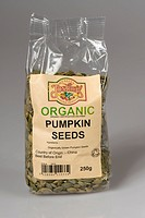 Organic pumpkin seeds as sold in health food shops grown in China