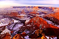 Dead Horse Point on a snowy morning near Canyonlands National Park in Utah.