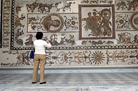 North Africa, Tunisia, Tunis. The Bardo Museum. Tourist front of Roman fresco mosaic.