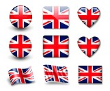 The British flag _ set of icons and flags. glossy and matte on a white background.