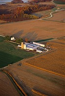 Aerial view of farm near wetlands in Dover, Delaware.