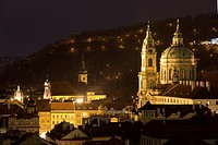 St  Nicholas Church at night, Prague, Czech Republic