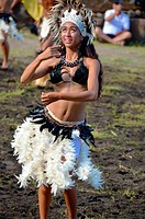 Dancer from Rapa Nui at Marquesan festival, Taipivai, Nuku Hiva, Marquesas Islands, French Polynesia