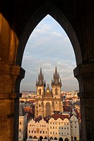 view on Tyn Church through arch, Prague, Czech Republic