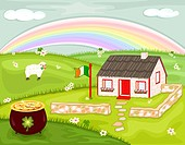 Celebrating Saint Patrick´s Day with magic rainbow and pot of gold, on the green hills of Ireland. Vector illustration saved as EPS AI8, no effects, a...