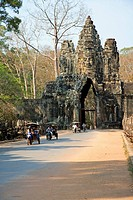 The South Gate of Angkor Thom is one of the five gateways into the ancient Khmer city of Angkor Thom. The South Gate is the most visited of the five A...