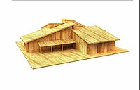 3d house wood design Computer render