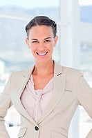 Smiling businesswoman standing