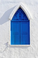 Window with blue shutters in Puerto Naos, La Palma, Canary Islands, Spain, Europe, PublicGround