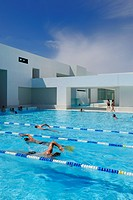 France, Seine Maritime, Le Havre, the swimming pool les Bains des Docks designed by the architect Jean Nouvel