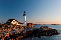 An early morning view of Portland Head Light in Cape Elizabeth, Maine. The lighthouse was commissioned by the then president George Washington. The li...