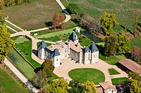 France, Gironde, Margaux, Chateau d´Issan,3rd growth Margaux aerial view