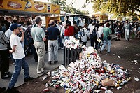 Trash piles up near fast food vendors in Washington, D.C. Circa 1993.