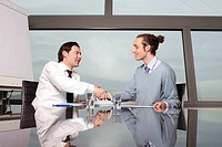 Handshake between two business people in a conference room