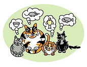 illustration of a calico mom cat and her three kittens thinking about what to eat.