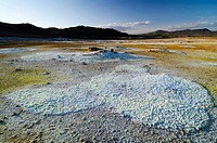 Sulfur field in the high temperature region of Hveraroend, N&#225;mafjall Mountains, Lake Myvatn area, Nor&#240;urland eystra, Nordurland, Northeast Iceland, Ic...