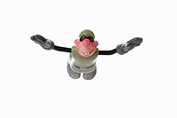 Comic figure, basejumper in free fall