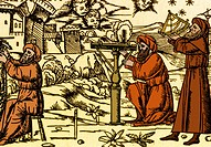 An engraving showing Arab astrologers using early astronomical instruments.