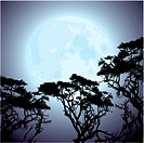 vector big blue moon and silhouettes of tree branches