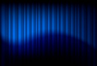 Blue drapes reflected. Illustration of the designer