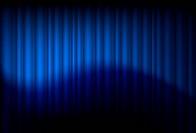 Blue drapes reflected. Illustration of the designer
