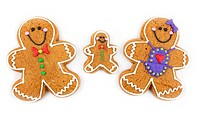 Family of decorated gingerbread cookies.