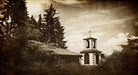 old monastery in bulgarian deep Vitosha forest, vintage religious background